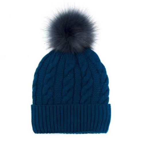 Teal Wool Mix Faux Fur Bobble Hat