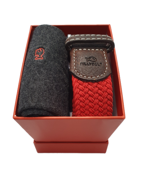 Billy Belt Grey Sock & Red Grenade Belt Gift Set (Red Box)