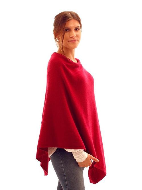 Cashmere Blend Poncho - Garnet Red