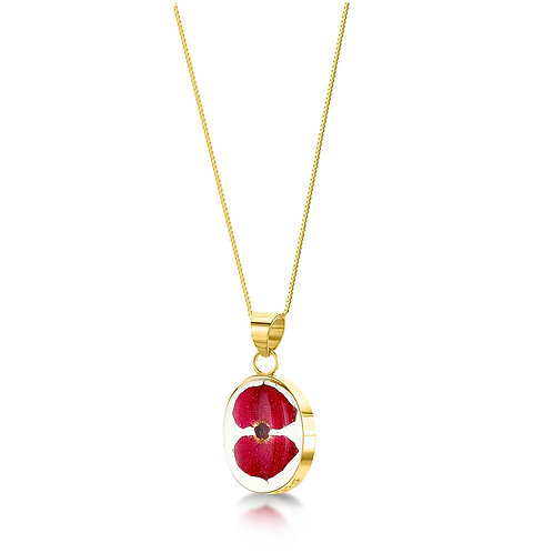 Shrieking Violet - Gold plated Stirling Silver Poppy necklace