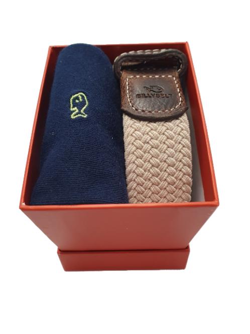 Billy Belt Navy Sock & Sandy Beige Belt Gift Set (Red Box)