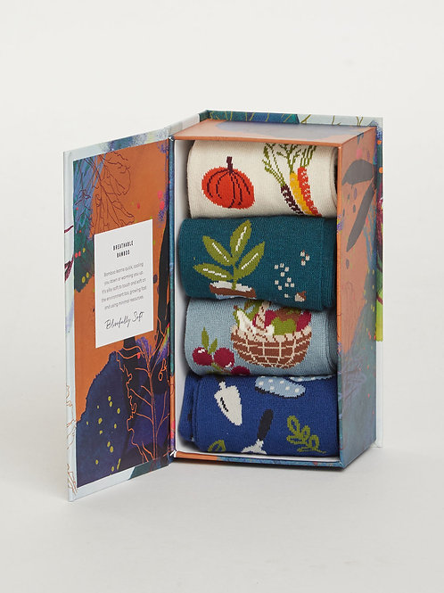 Thought - Allotment Leaves Bamboo Sock Box
