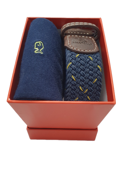 Billy Belt Navy Sock & The Porto Belt Gift Set (Red Box)