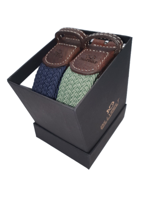 Billy Belt Gift Box - Navy & Almond Green -Size 1