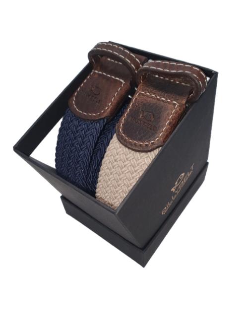 Christmas Billy Belt Gift Box - Navy & Sandy Beige - Size 1