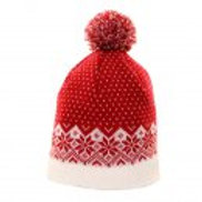 Children's Red & White Knitted Ski Hat - Fleece lined