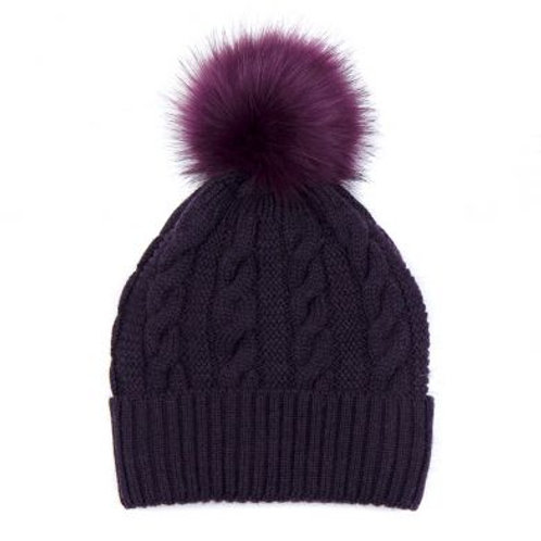 Mulberry Wool Mix Faux Fur Bobble Hat