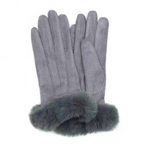 Grey Lined Gloves With Faux Fur Trim