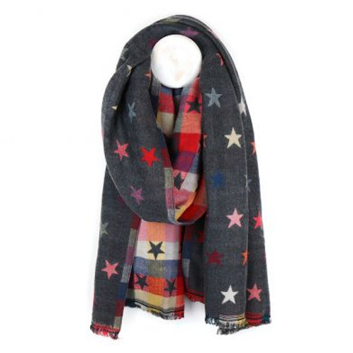 Grey Reversible Jacquard Star Scarf