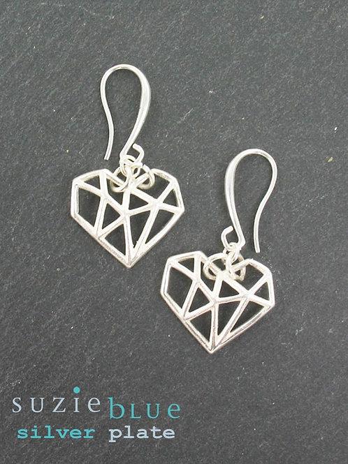 Suzie Blue: Silver plated Heart Earrings