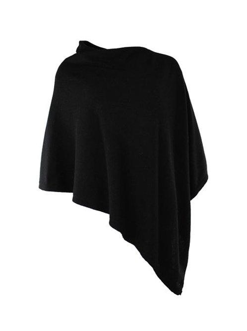 Italian Cashmere Blend Poncho - Black
