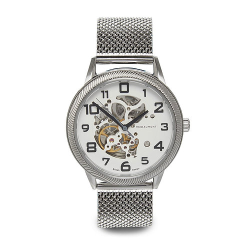 Mr Beaumont Silver Automatic Skeleton Watch