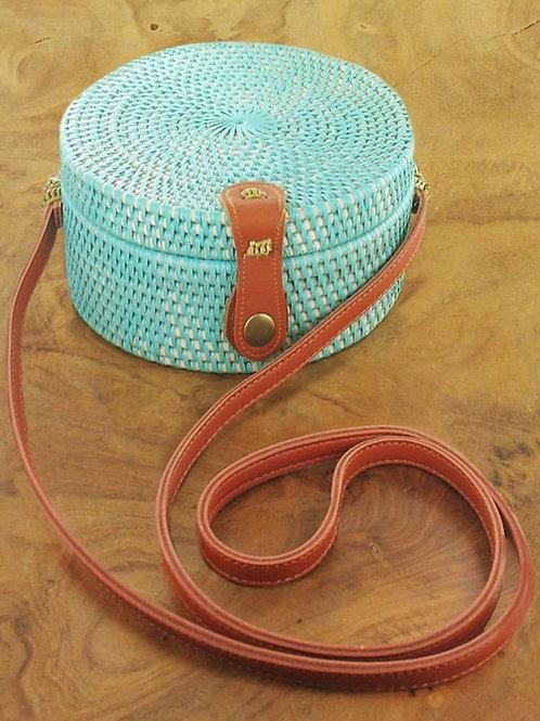 Suzie Blue: Green Round Basket Bag