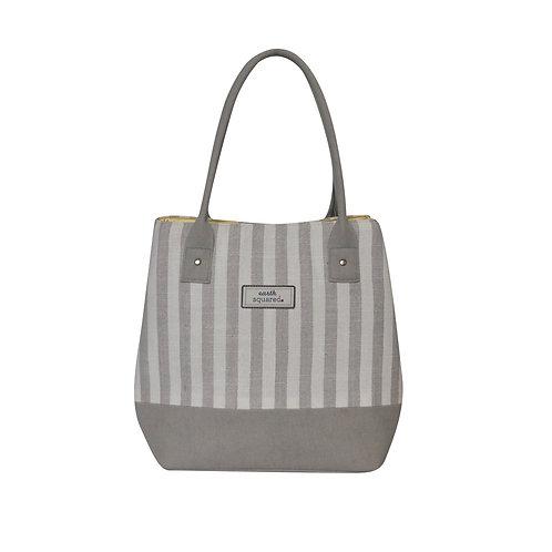 Spring Stripe Box Tote Bag (Grey)