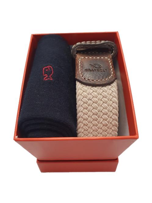 Billy Belt Black Socks & Sandy Beige Belt Gift Set (Red Box)