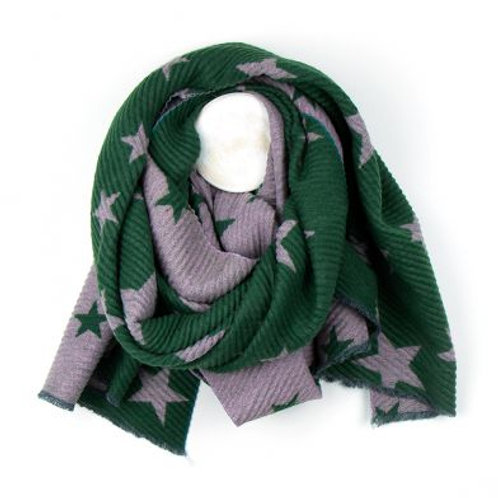 Green And Pink Pleated Star Scarf