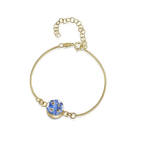 Shrieking Violet - Gold plated Stirling Silver Forget-me-not Bracelet