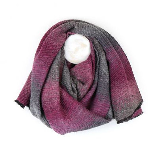 Pink-Grey Ombre Pleated Scarf