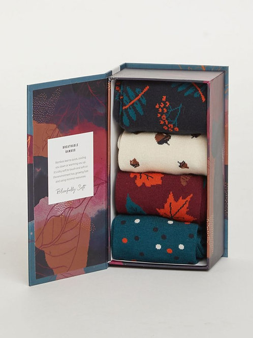 Thought - Autumn Leaves Bamboo Sock Box