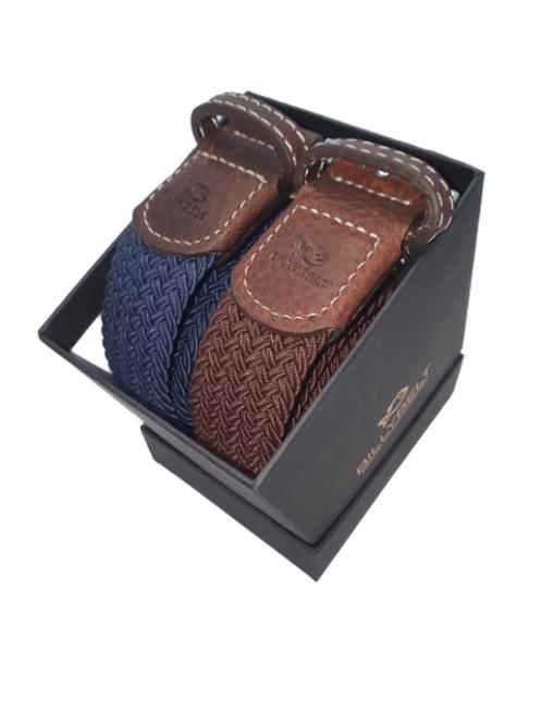 Billy Belt Gift Box - Navy & Brown Leaf - Size 1
