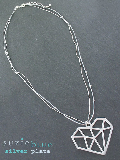 Suzie Blue: Silver plated Heart Necklace