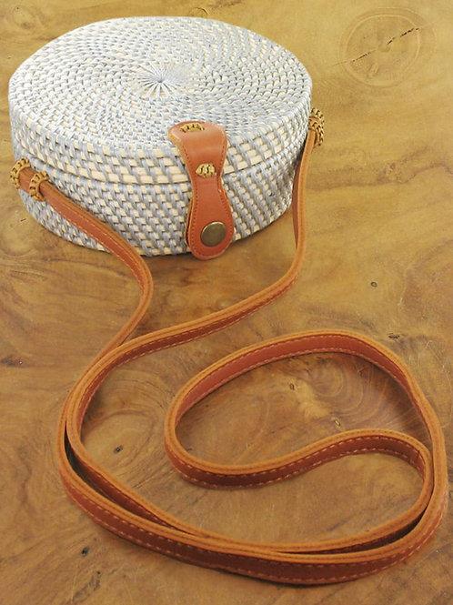 Suzie Blue: Light Blue Round Basket Bag