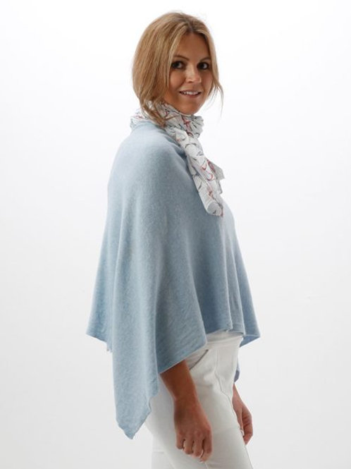 Cashmere Blend Poncho  - Ice Blue