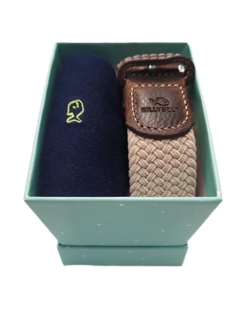 Billy Belt Navy Sock & Sandy Beige Belt Gift Set (Spotted Green Box)