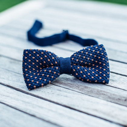Cotton Knit Bow Tie - Navy & Camel