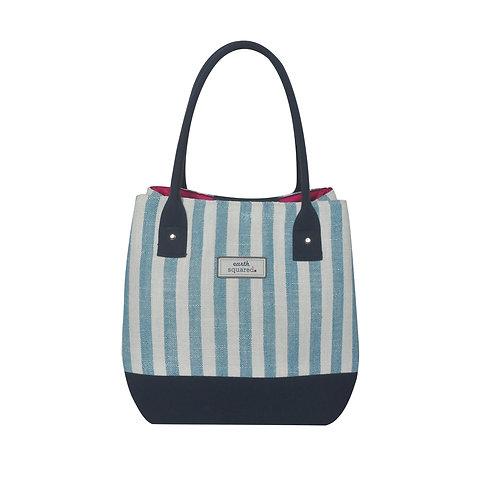 Spring Stripe Box Tote Bag (Blue)