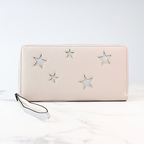 Pale Taupe Purse With Silver Stars
