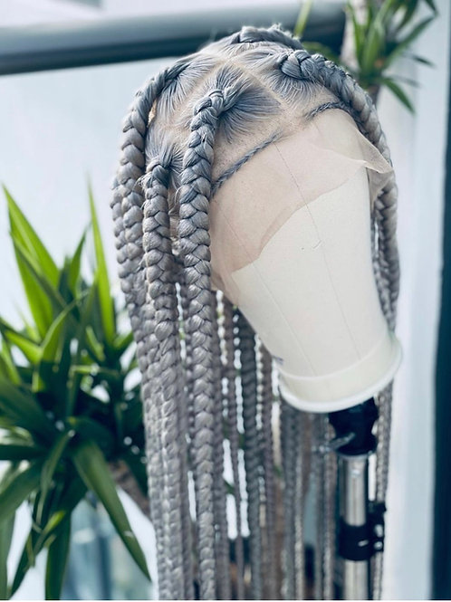 Grey Knotless  Braided Full Lace Unit 40inch