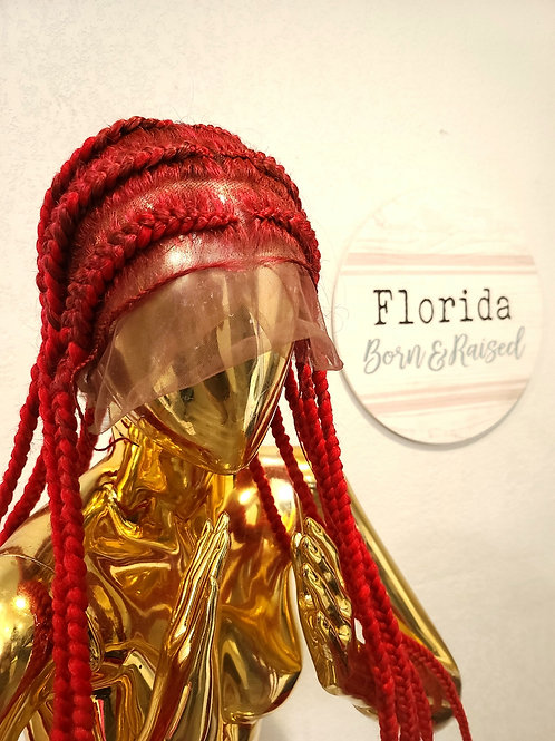 Red PopSmoke Braided Wig