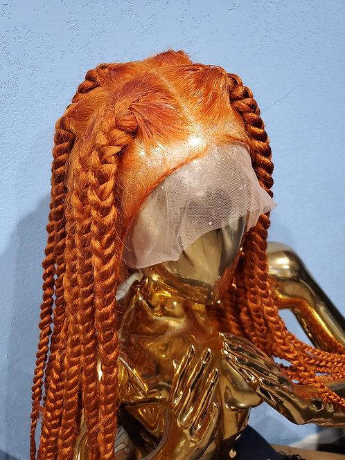 Chunky Orange Knotless Braided Wig