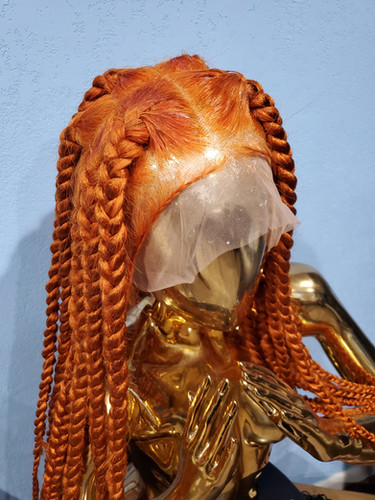 Chunky Orange Knotless Braided Wig Hairtoure