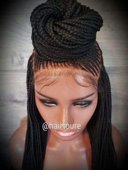 Hand Made Bun Style CornRow Frontal Wig