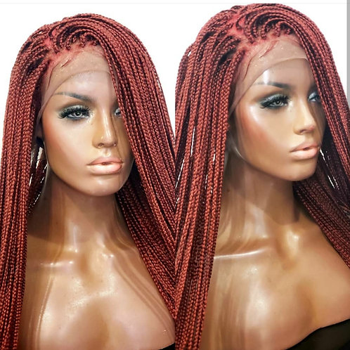 Full Lace Burgandy Small Box Braids 30inches