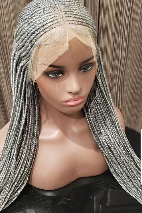 Icy Grey Full Lace Tribal Style Wig