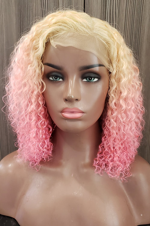 613/Ombre Cotton Candy Pink Bohemian Curly Closure Wig