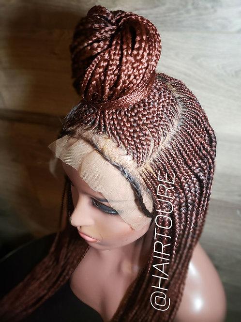 Dark Burgandy Center Pony Front Lace Braided Wig