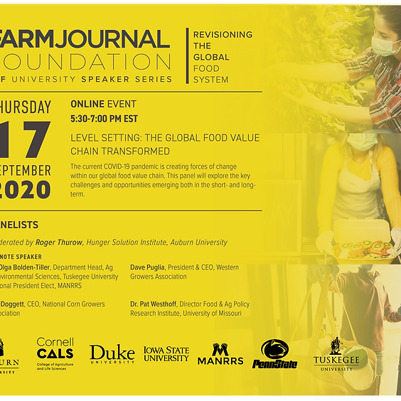 September 17, 5:30pm est: Level Setting: The Global Food Value Chain Transformed