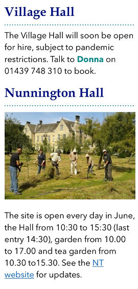 Village Events Village Hall Nunnington H