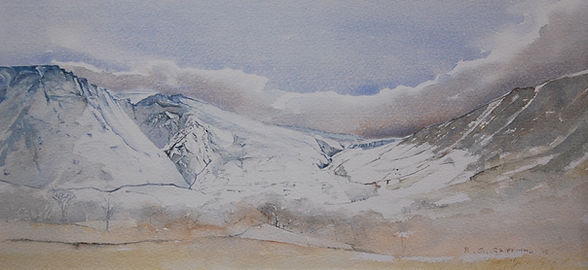 N. Carneddau, Snowdonia. Original watercolour. Framed