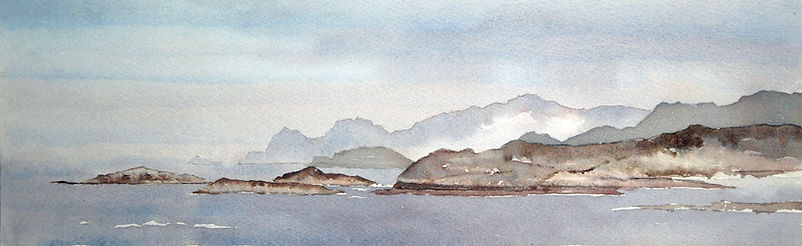 Watercolor painting of the view towards Skellig islands on the Iveragh Peninsular, Co. Kerry