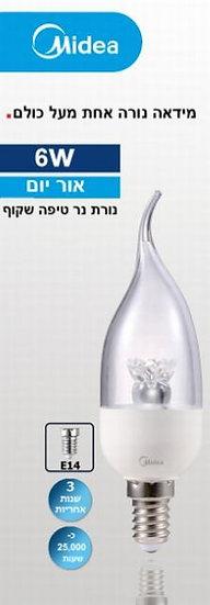 מנורת נר טיפה שקוף 6500 K-6W