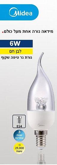 מנורת נר טיפה שקוף 3000 K-6W
