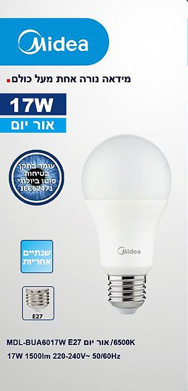 נורת לד כדור A60 אור יום 15W LED LIGHT MIDEAהברגה E27