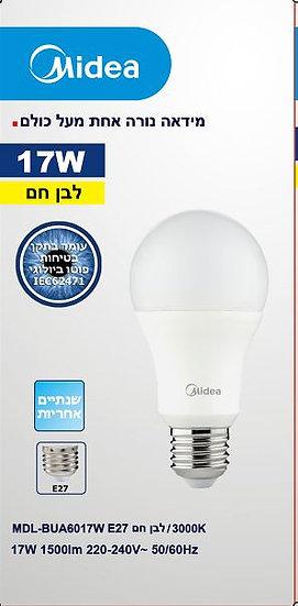נורת לד כדור A60 לבן חם 17W LED LIGHT MIDEAהברגה E27