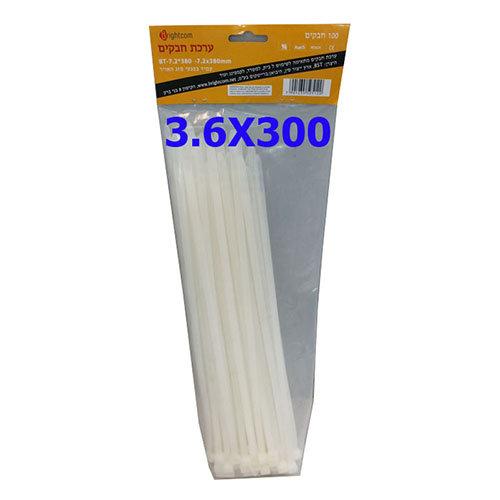 חבקים 100 יחידות BT3.6X300MM צבע לבן