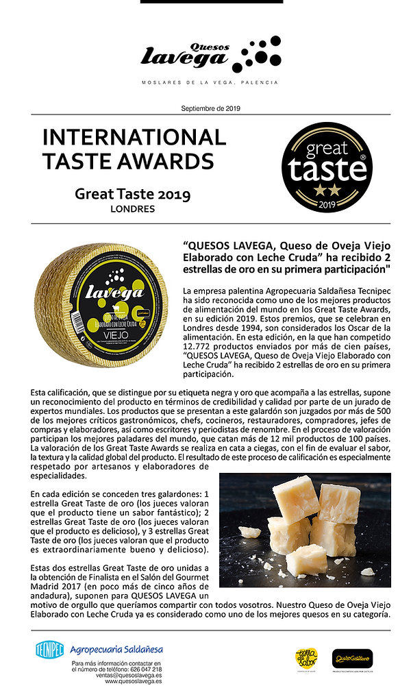 Comunicado Great Taste Quesos Lavega.jpg